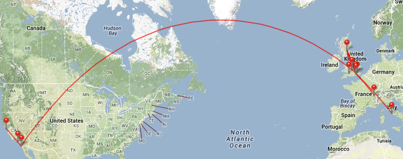 Map of my flights 2013